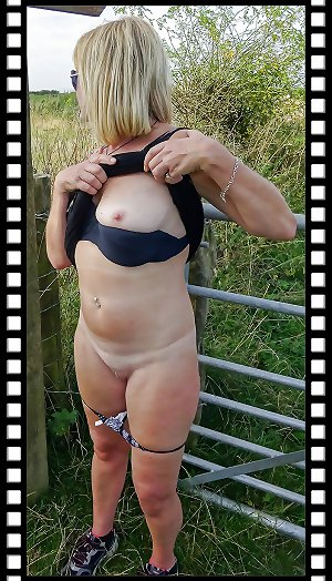 Sexy mature flashing and sucking cock outdoors